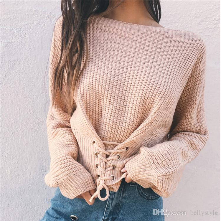 8224742925c Fashion Autumn  Winter Solid Women Sweaters And Pullovers 2017 Knitted  Sweater Long Sleeve Female Pullover Tops DZY170812 Women s Sweaters  Sweaters Women s ...