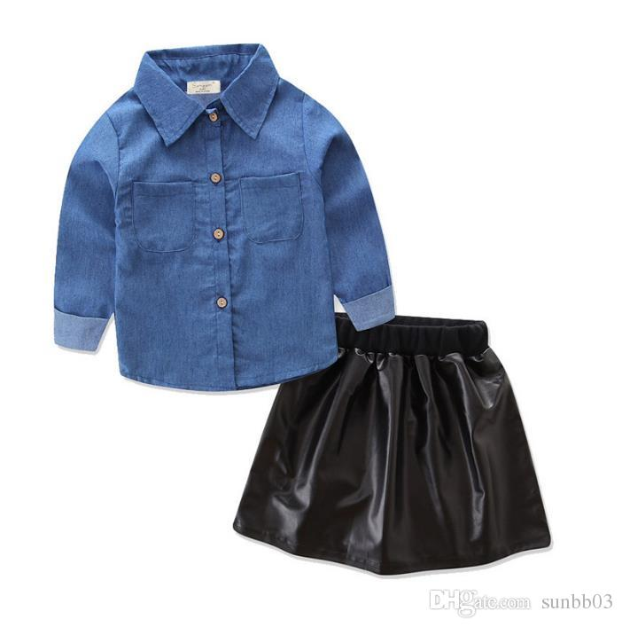 Ins Baby Girls Clothes Set Kids Denim Shirt + PU Leather Skirt Clothing Suit Children Outfits 13534