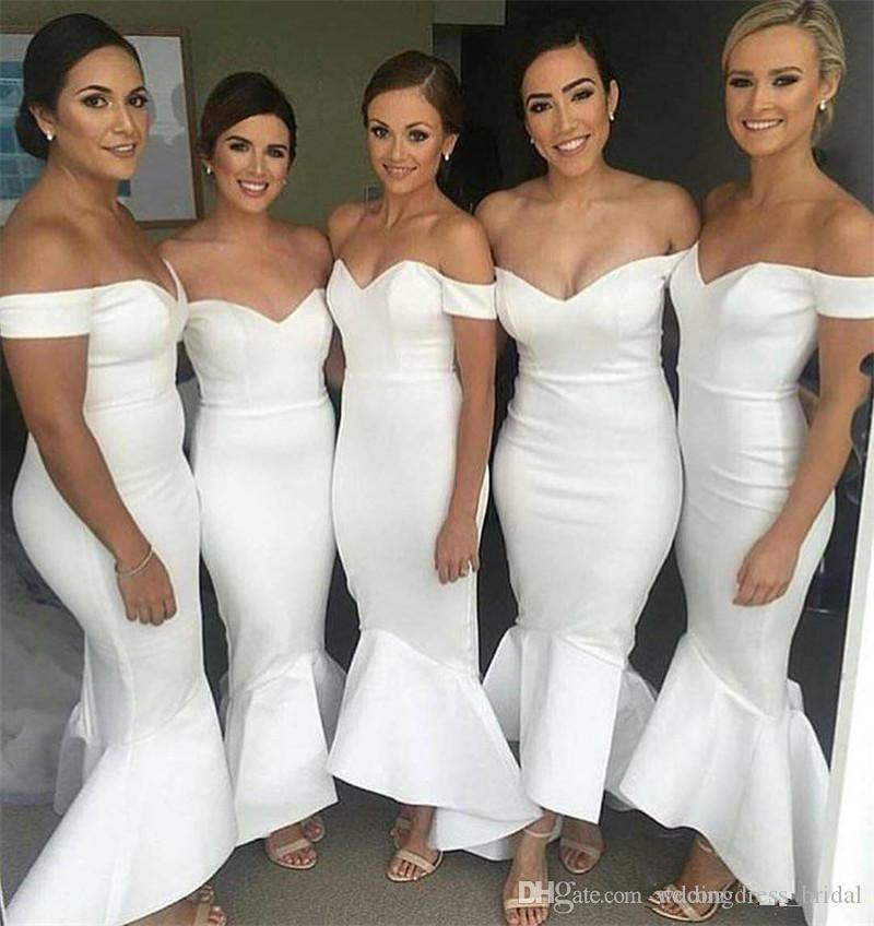 Simple Cheap White Bridesmaid Dresses 2017 Sexy Off The