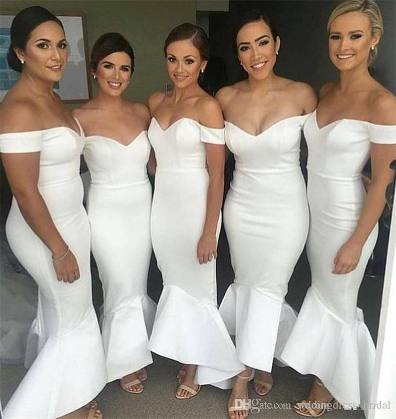 a0795a89232 Simple Cheap White Bridesmaid Dresses 2019 Sexy Off the Shoulder Mermaid  Maid of the Honor Dress Hi Low Wedding Party Guest Gowns Dresses Cheap White  ...