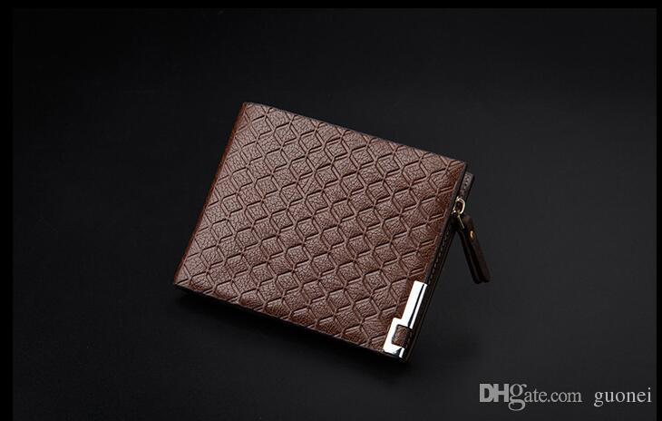 Mens Için 2017 Yüksek Kaliteli PU Deri Cüzdan iş Tasarımcı Bifold Para Çanta Kart sahibinin ekose Moda Çanta cüzdan