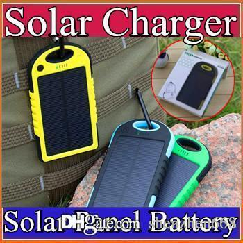 5000mAh Solar Charger Waterproof Solar Panel Battery Chargers for Smart Phone iphone7 Tablets Camera Mobile Power Bank Dual USB B-YD