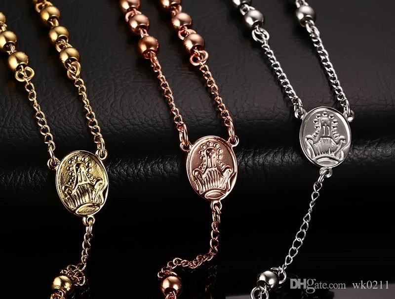 سحر الرجل قلادة يسوع المعلقات طويلة الوردية الخرز سلسلة الفولاذ المقاوم للصدأ مجوهرات رجالية
