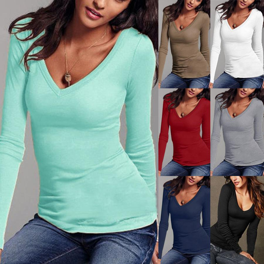 d0f67e077c7 Fashion Autumn Women V Neck Warm Winter T Shirt Tops Slim Casual Long Sleeve  T Shirt For Women Clothing Tops T Tee Shirts T Shirt Shirts From ...