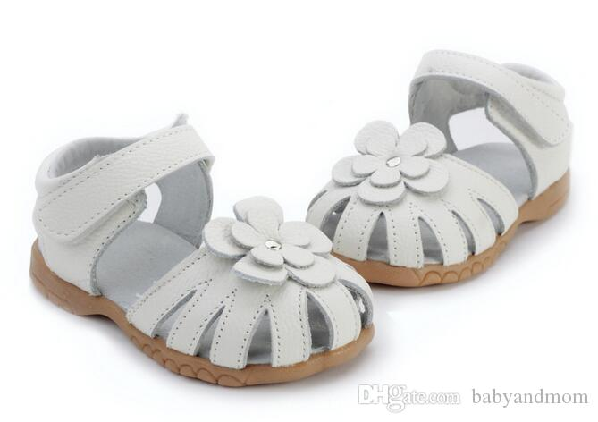 Girls sandals genuine leather flower white pink navy red for wedding christenning SandQ baby sandals on magazines F1 closed toe wide