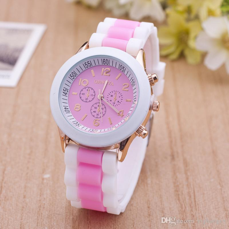 Newest Fashion Geneva Silicone Quartz Watch Three circles Display White Strap Candy Color Rubber Girls Ladies Women watches