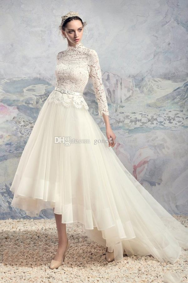 Großhandel Hohe Niedrige Teelänge Lange Sleeved Hochzeitskleider ...
