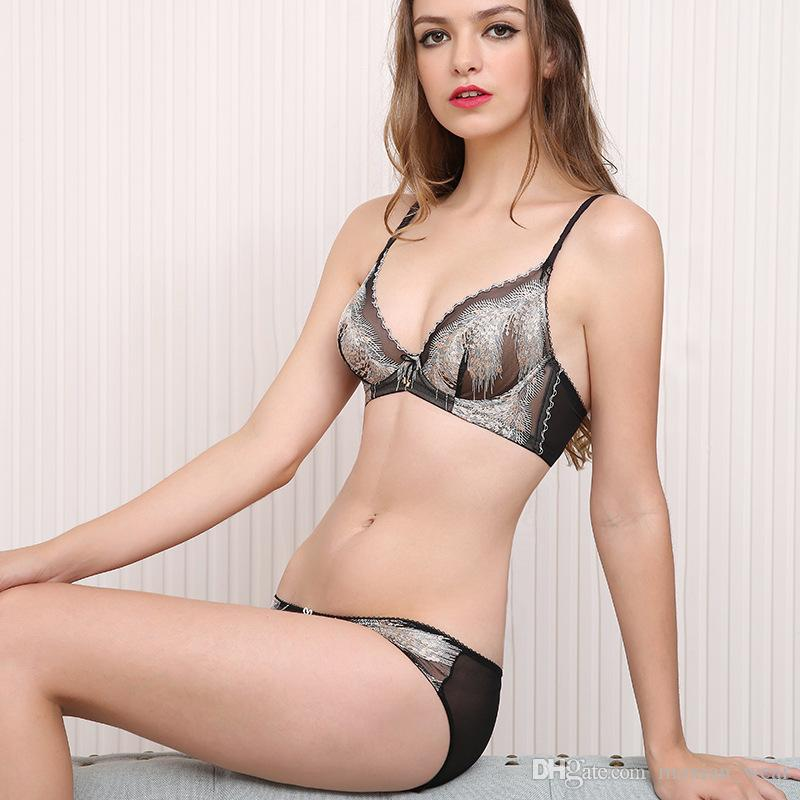 37a101076edab 2019 MOXAIN New Embroidery Sexy Bra Set There Is A Steel Ring Crystal Glass  And Ultra Thin Lace Underwear Milk Cover A B C D E Cup LS33A73148L From ...
