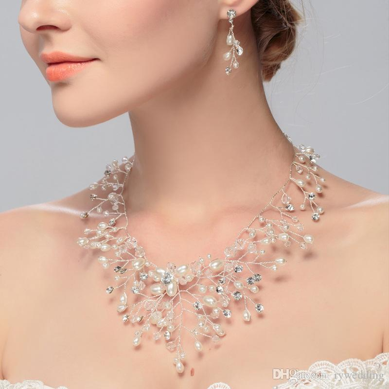 Elegant Wedding Jewelry Set Bridal Top Quality Handmade Pearl