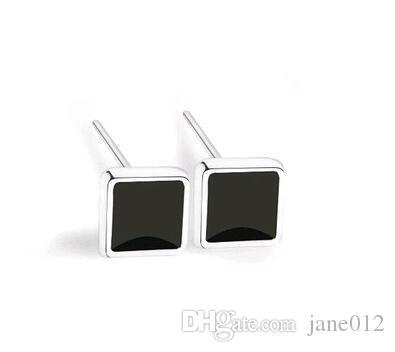 Pendientes de los hombres negros Studs Square S925 Sterling Silver Joyería de moda del oído de la manera para hombres y mujeres