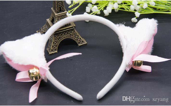 Halloween Cat Fox Fluffy Devil Ears Bells Headband Costume Fancy Dress Anime Neko Cosplay Band Party Boże Narodzenie Performance