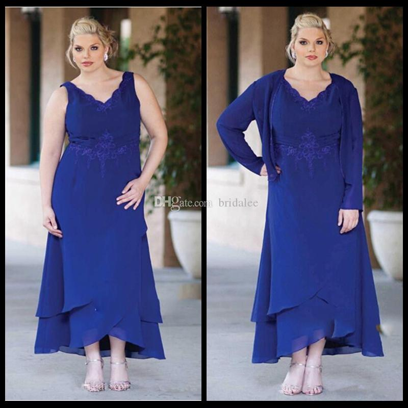 Royal Blue Mother Of The Bride Dresses Cap Sleeve Plus Size Long Sleeve  Lace Appliques For Weddings Formal Evening Dress