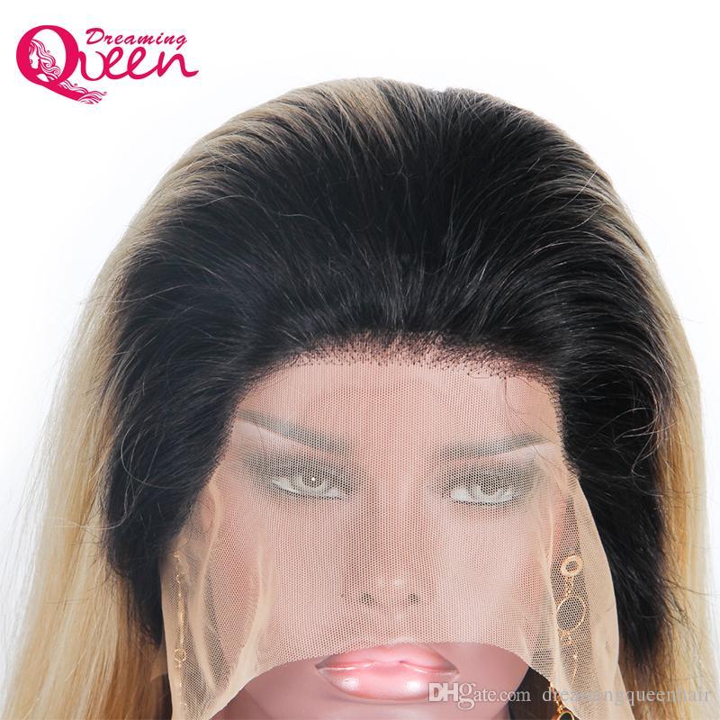 Ombre 1B/613 прямой полный парик шнурка предварительно сорвал 130% плотность парик 100% бразильский девственный парик человеческих волос с темно-черными корнями Бесплатная доставка