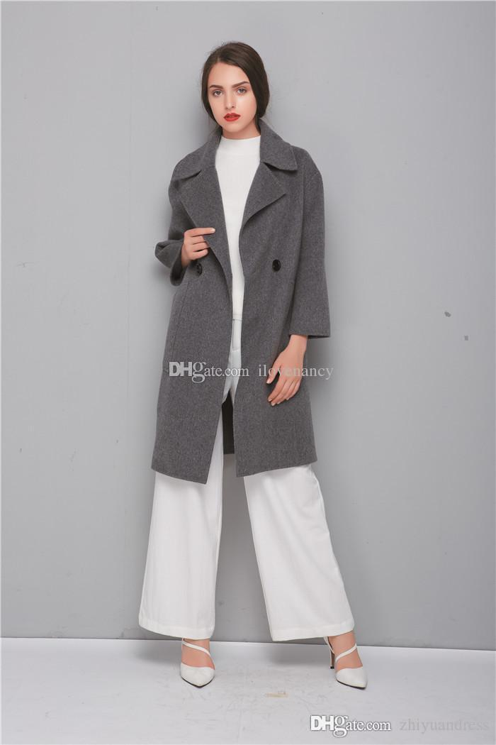 2017 Grey Wool Coats 2018 Fashion High Quality Double Breasted ...