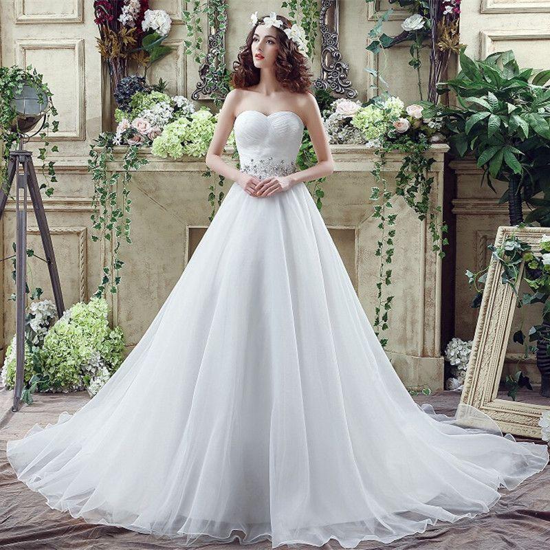 Romantic Plus Size Wedding Dress White/Ivory Sweep Train Organza A ...
