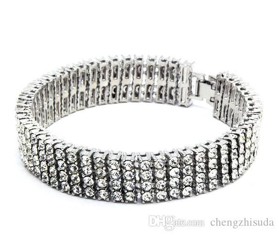 Men Gold Gun Silver Plated Hip-Hop Iced Out 30inches 4 Row Simulated Diamond Bling Bling Chain & Bracelet Mens Jewelry