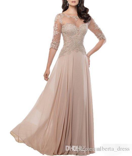 Cheap elegante in chiffon madre di sposa abiti da sposa gioiello gioiello pizzo appliques lungo abiti da sera formale abiti personalizzati su misura