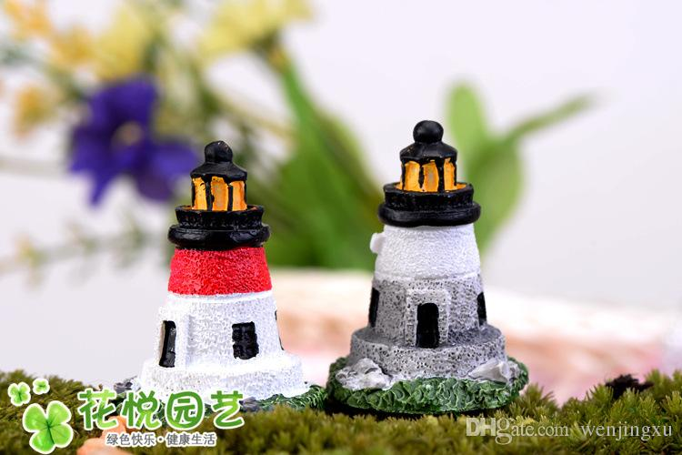 Multi-window lighthouse Terrarium Figurines Fairy Garden Decor Miniatures Bonsai Tools Micro Landscape Dollhouse Ornament
