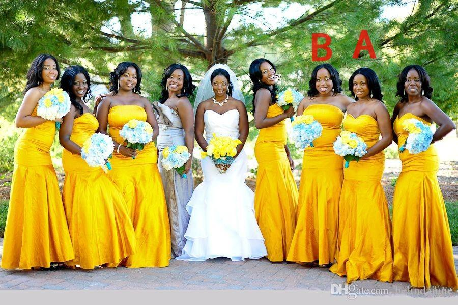 Yellow Mermaid Bridesmaid Dresses Slim Plus Size Strapless Custom ...