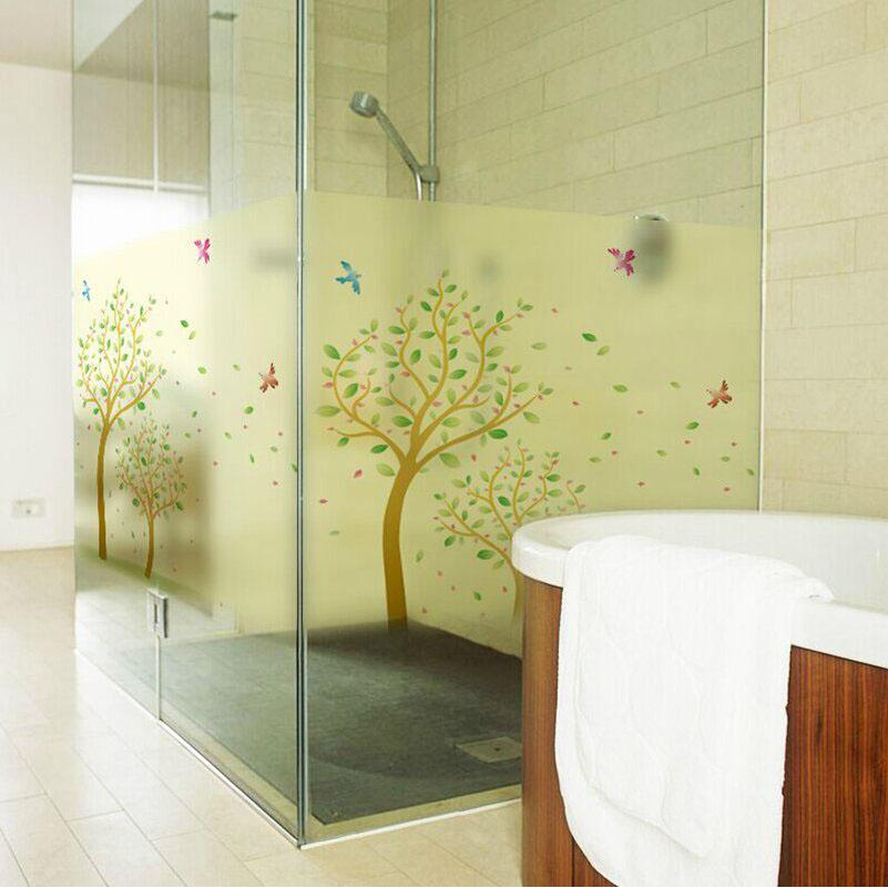 60x120cm Window Film Lovely Tree Frosted Glass Film Privacy Bedroom ...