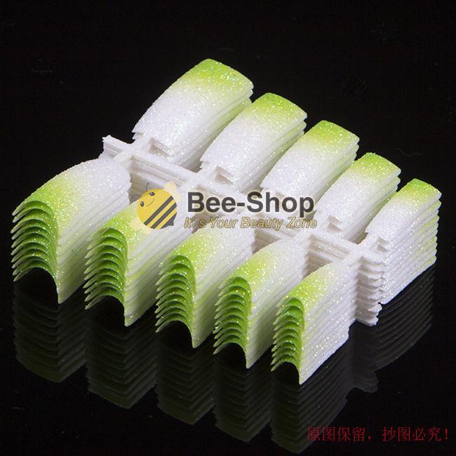 Compre Beauty Falsa Acrílico Glitter Nail Tips Verde Mix White Pre ...