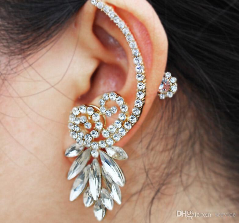 Unique Crystal Earring Wedding Bridal Ear Stud Clip Cuff Earring One Item for Left Ear 2Colors 2016 Style