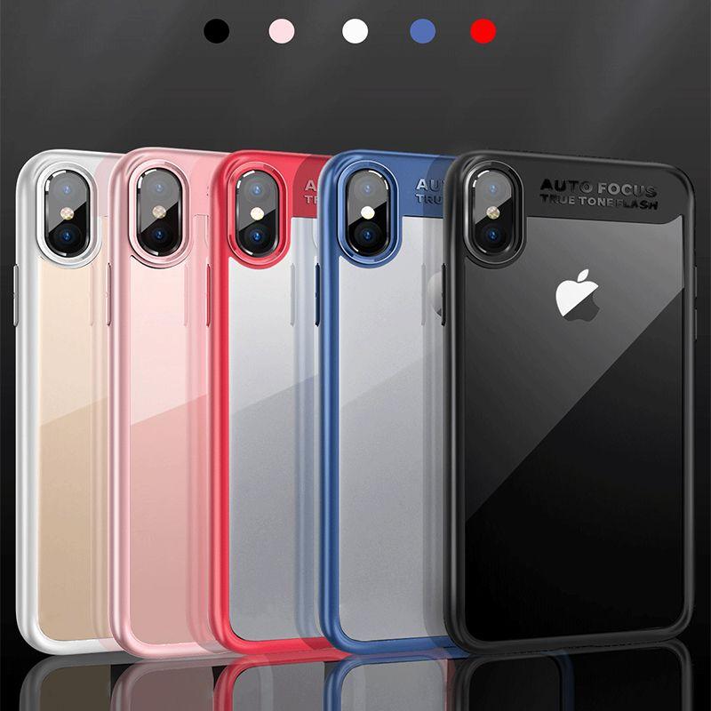 Para iPhone X 8 Plus Transparente TPU + PC Cajas del teléfono celular transparentes de material dual Suave cubierta de protección de acrílico transparente de plástico DHL SCA323