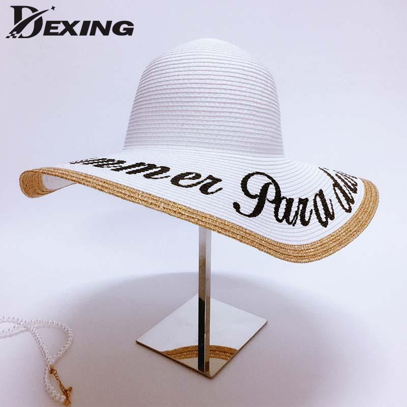 0b7d7f9892f64 Wholesale- Dexing Letters Anti-UV Sun Hats Wide Brim Straw Hat Women ...