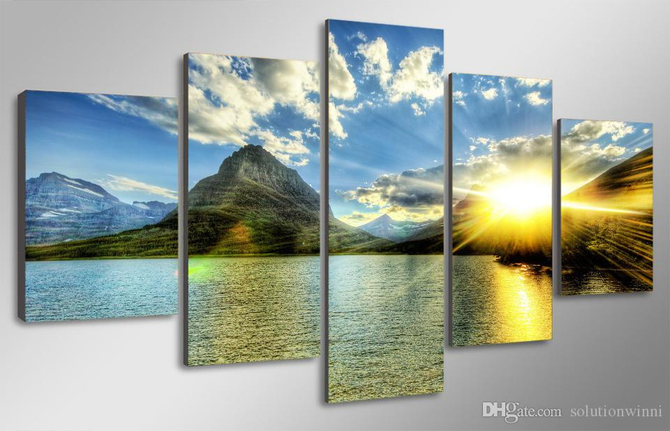 HD Printed Sunset Lake Mountain Painting Canvas Print room decor print poster picture canvas oil art painting