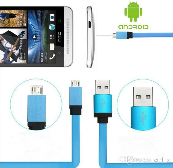 3FT Metal Flat Noodle Micro USB Cable 2A Data Sync Fast Charging Adapter Cords for Mobile Phone Android V8 & Tablet