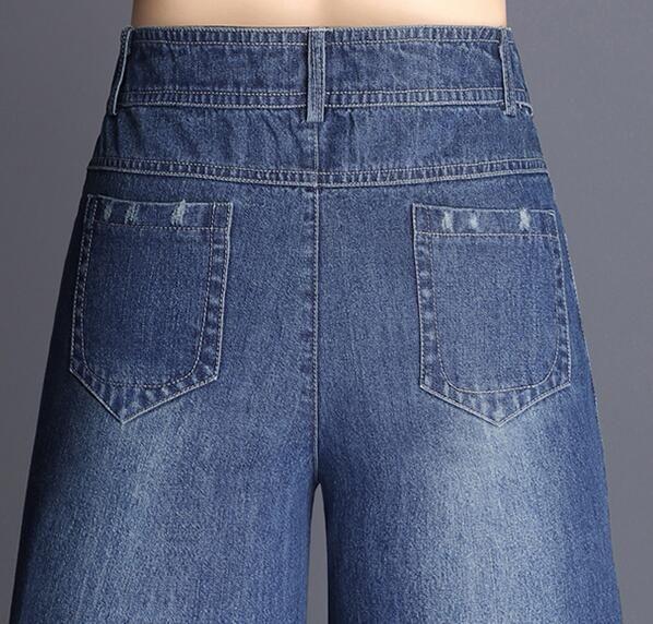 Breite Beinhosen für Frauen plus Größe Denim Jeans beiläufige Herbst Frühling hohe Taille neue Mode weibliche Hose Baumwollmischung lyq0703