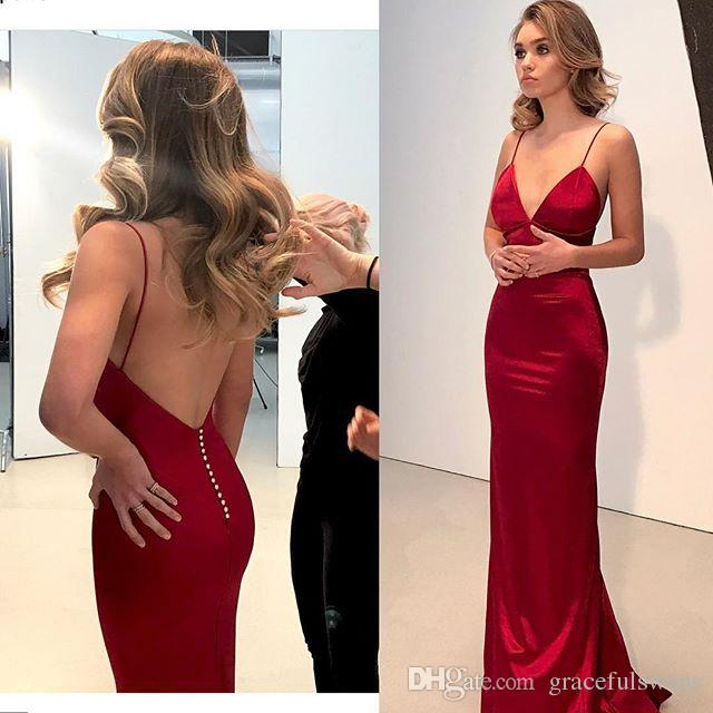 52cf491dc745 Dark Red Straight Evening Dresses Long Spaghetti Straps V Neck Elastic  Satin Sexy Formal Party Dresses Backless Prom Gowns Couture Evening Dresses  Evening ...
