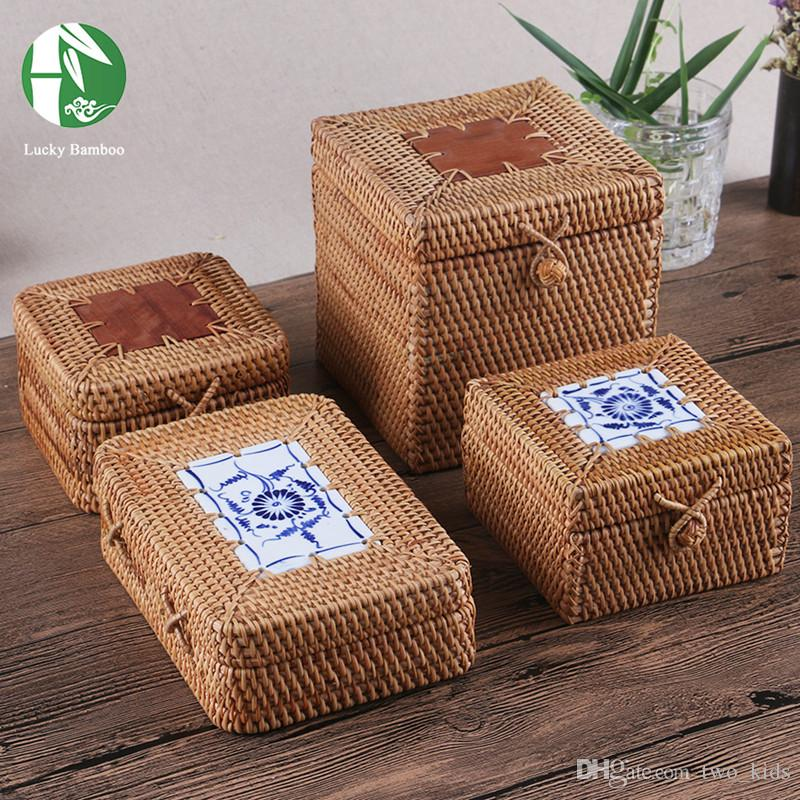 2018 Wholesale Rattan Storage Boxes Hand Woven Jewelry Box With Lid 8 Style Bamboo Storage Baskets Bins For Sundries Tea Vintage Gifts Boxes From Two_kids ... & 2018 Wholesale Rattan Storage Boxes Hand Woven Jewelry Box With Lid ...