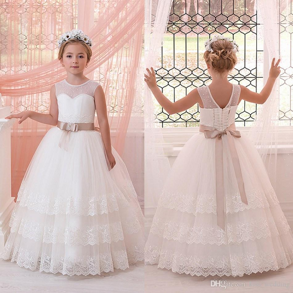 017bd79a45d Newest Pearled Jewel Neck Flower Girls  Dresses For Wedding Little Girls  Party Graduation Gown With Bow Sash Custom Made High Quality Lace