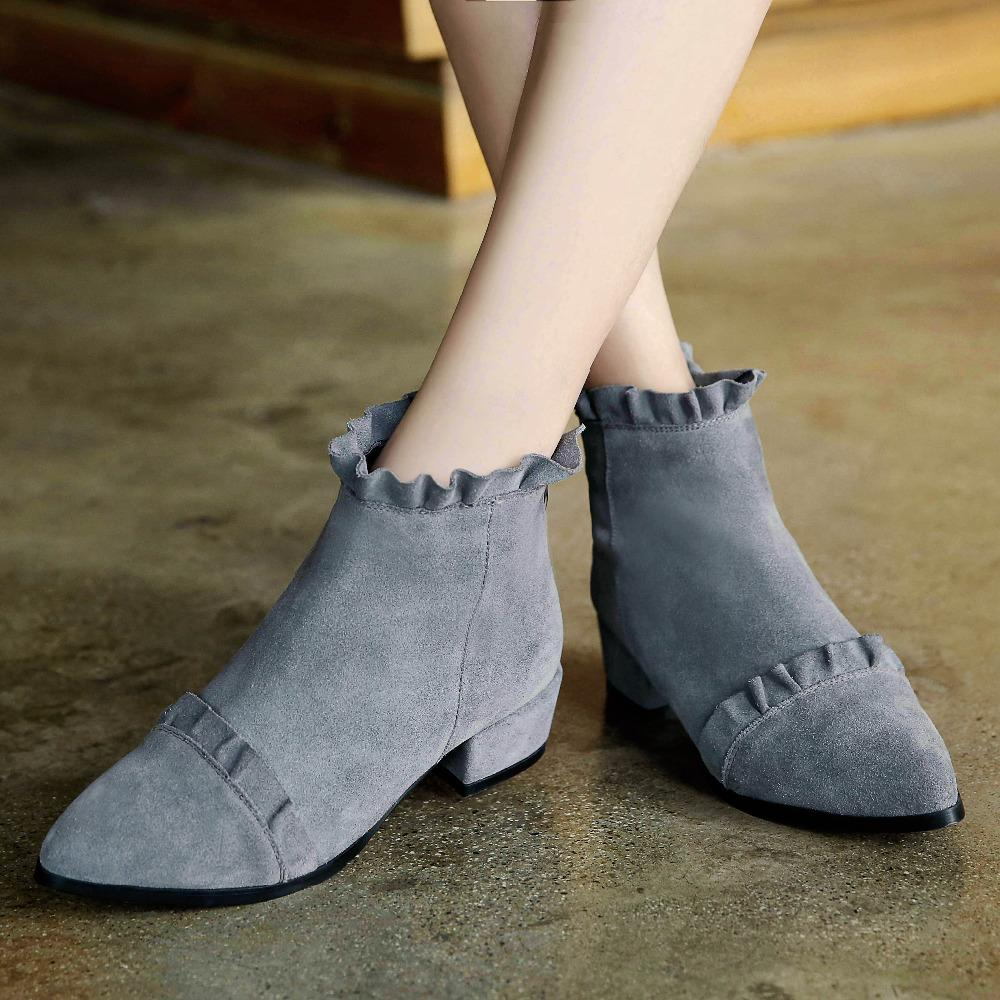 spring autumn flounced ankle boots low heel comfort natural
