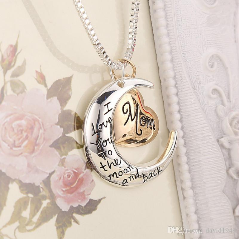 Heart Necklaces I love you to the Moon and Back Mom Pendants Necklaces Zinc Alloy Jewelry Mothers Day Gifts