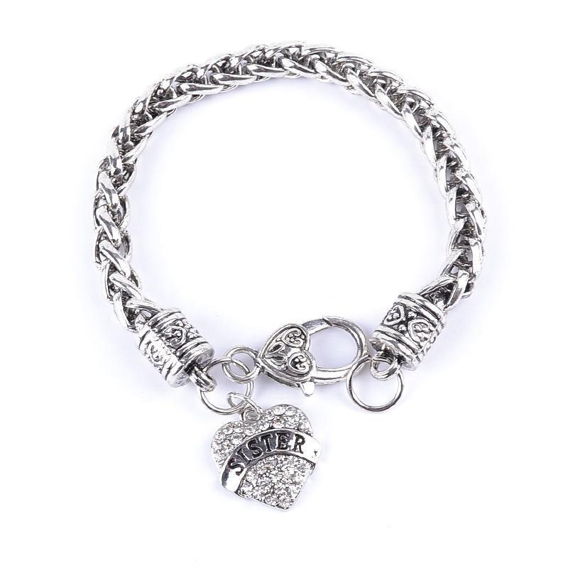 Wholesale- New Simple Bracelets Women Mom Letters Bracelet Silver ...