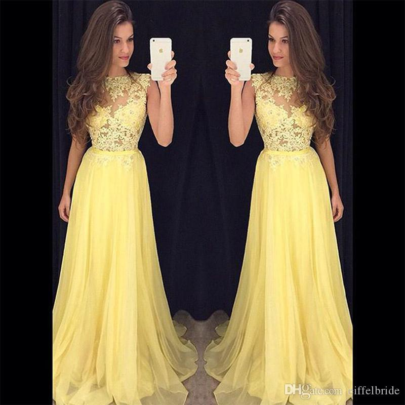 2017 Fast Shipping Prom Dresses Long Sexy Illusion Bodice With ...