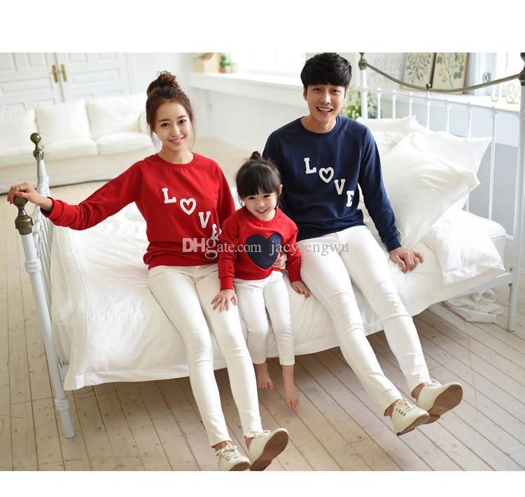мать и дочь одежда пары семья соответствия отец детская одежда девушка тройники мальчики повседневная футболки дети любят дизайн ползунки QZSZ004