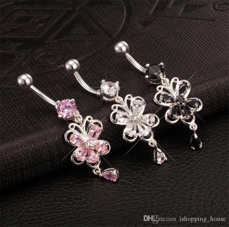 Vente chaude Papillon de haute qualité Barre de nombril Cubic Bell Bell Boîtiers Perçage Bijoux corporels de nombril pour femme sexy