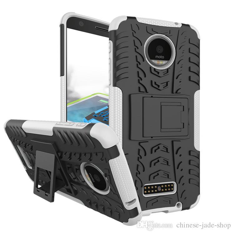 ハイブリッドキックスタンドインパクト頑丈な頑丈なTPU + PCの衝撃防止ケースカバーMotorola Moto G8 Power Lite G Power E7 /ロット