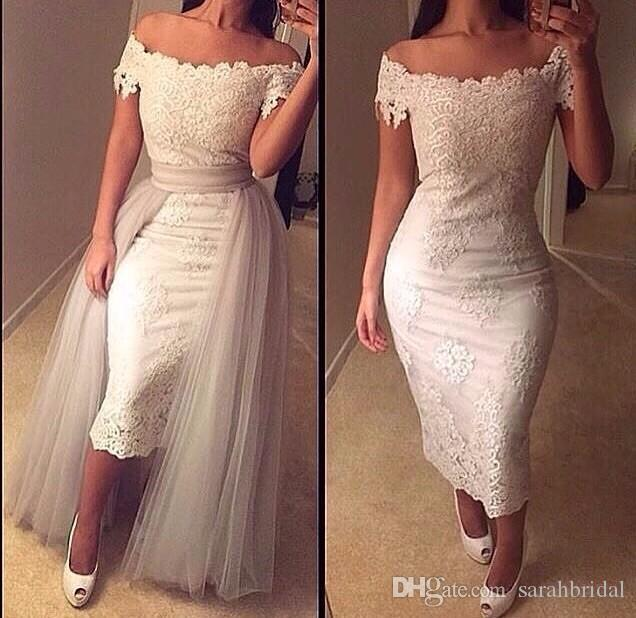 New Arrival Lace Evening Dresses Off the Shoulder with Removable Peplum Tail Train Tea Length Sheath Bodycon Party Gowns Arabic Prom Wear