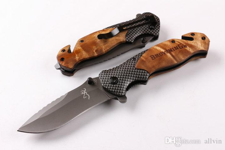 X50 Large Fast open Tactical folding knife 440C Titanium Blade Steel+wood handle camping knife knives wtih retail paper box packing
