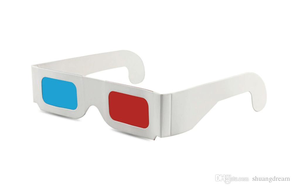 Óculos de papel 3D, Traga para o seu melhor efeito visual, papel azul vermelho 3D óculos de imagem de filme estereoscópico com choque visual efeito visual 100% 3D
