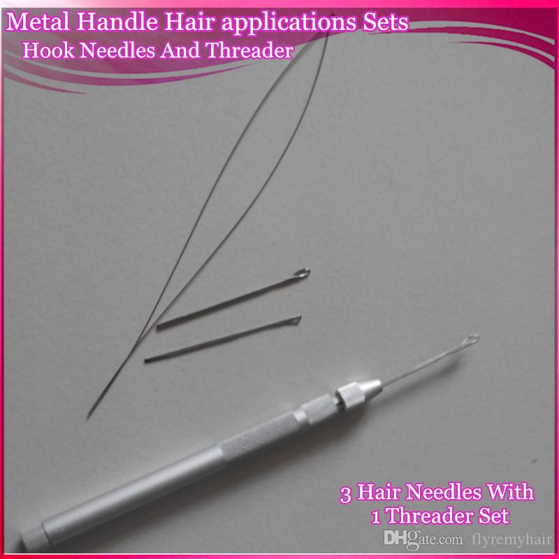 Hair Extension Tools Knitting Needles New 3x Hooking Ventilating Alum Pulling Needle + Holder KIT For Micro Ring Tool