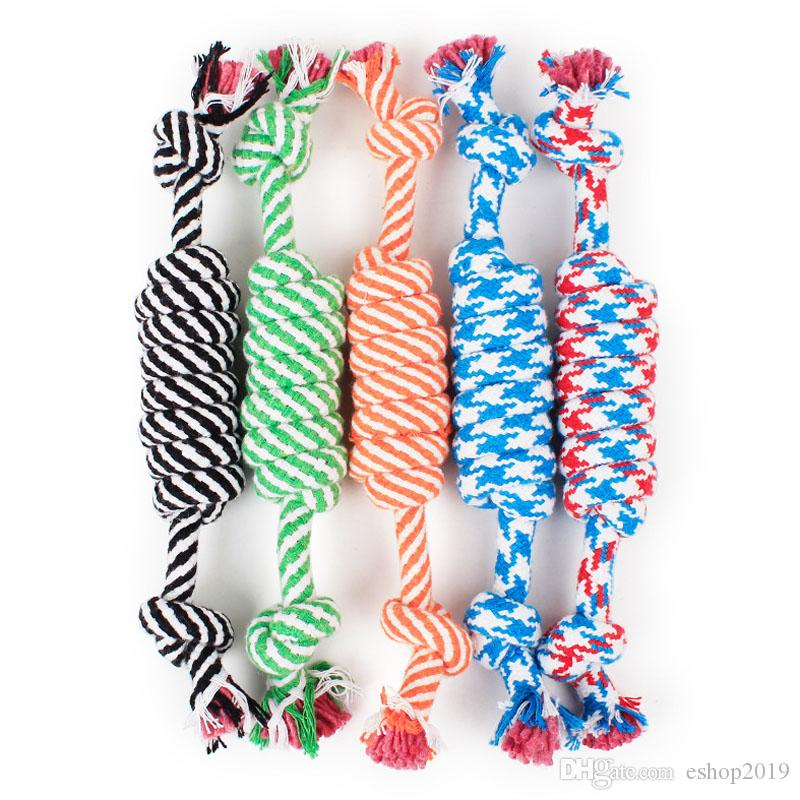 Dog Rope Fun Pet Chew Knot Toy Cotton Stripe Rope Dog Toy Durable High Quality Dog Accessories Drop Shipping