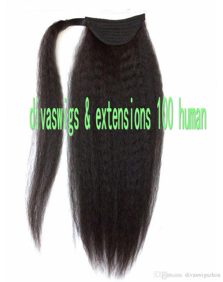 Wrap Drawstring 100 Menschliches Haar Pferdeschwanz Erweiterungen Grob lockiges Afro Verworrene Gerade Italienische Yaki Top Verschluss Clip In Pferdeschwanz Erweiterung 120g