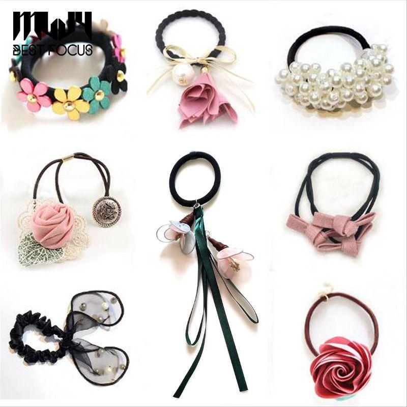 Moda 10 Styl Mieszanka Kwiat Zroszony Pearl Pałąk Gumka Band Elastyczne Zespoły do włosów dla dziewcząt Akcesoria do włosów