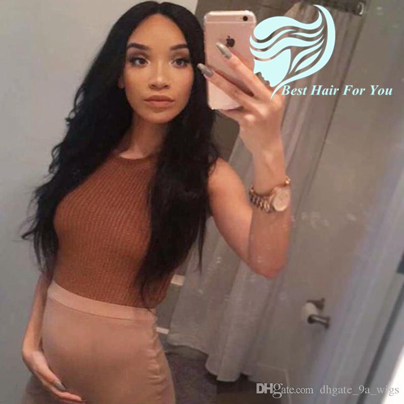 Glueless Full Silk Base Pelucas de Cabello Humano Peruvian Silky Straight Silk Top pelucas llenas del cordón para las mujeres negras nudos blanqueados
