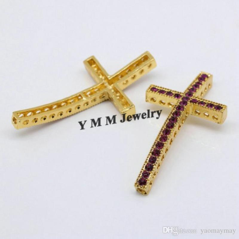 Gold Plated 25x48mm Sideways Cross Shape Bracelet DIY Connectors With Purple Crystal Fashion Findings For Necklace